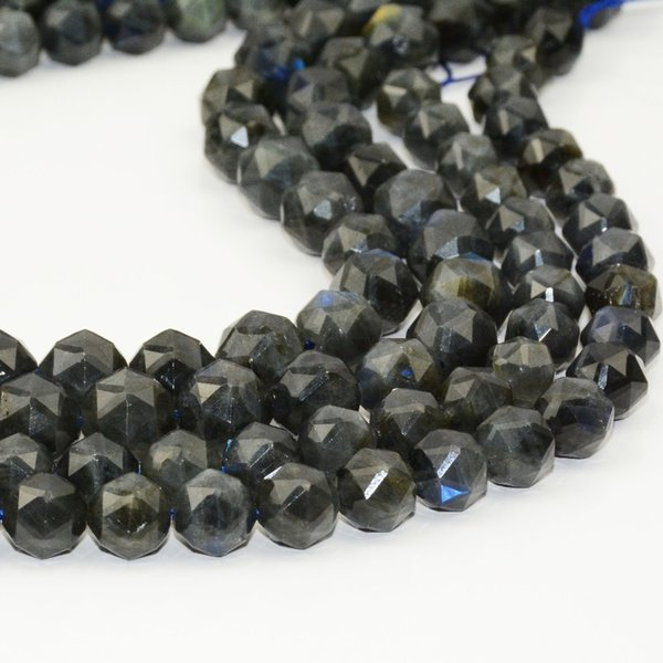 natural dark labradorite triangle faceted round beads 8mm / 10mm / 12mm