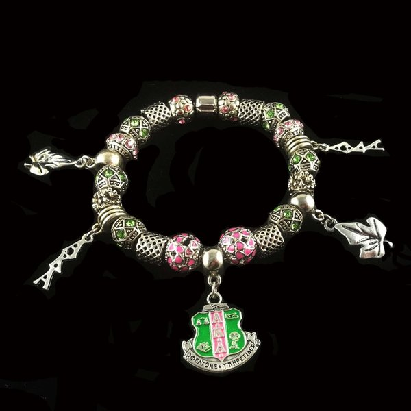 Aka Sorority Splitter Ton Charm Perlen Armband Schwester Geschenk Vintage Design Schmuck Weihnachtsgeschenk für Frauen Mädchen