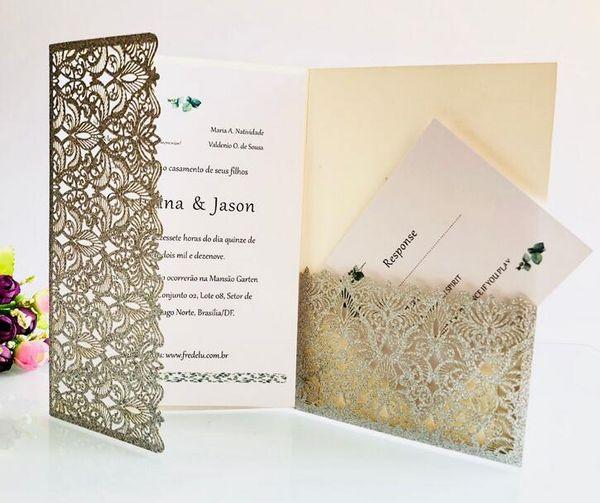 Luxury Champagne Gold Glitter Wedding Invitations Elegant Laser Cut Dinner Party Invites with Glitter Band+Envelope 50pcs