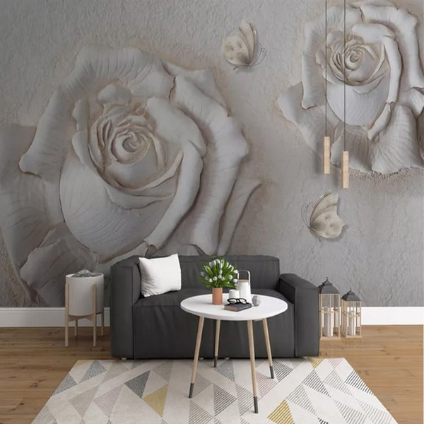 Photo Wallpaper Relief Stereo 3D Rose Fleurs Peintures murales Salon TV Canapé fond mur Peinture Home Decor Papel De Parede 3 D