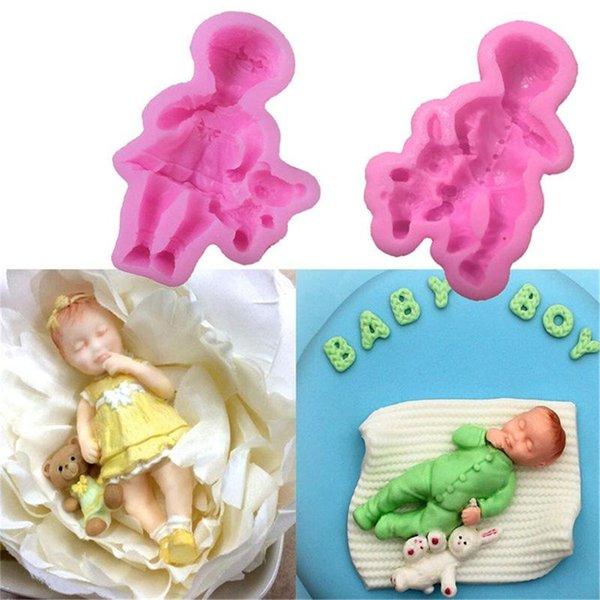La pasta de azúcar del molde del silicón DIY 3D Tres Bebé durmiente del chocolate molde de silicona de decoración de tortas torta moldea Herramientas jabón de pasta de azúcar del molde