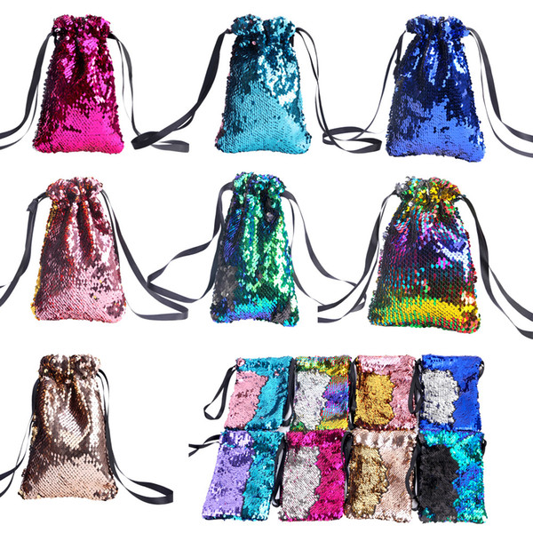 8styles Sequin Wallet Coin Purse double color reversible Girls Phone Earphone Kids Bag Pocket Change Party Gifts drawstring Bags FFA1902