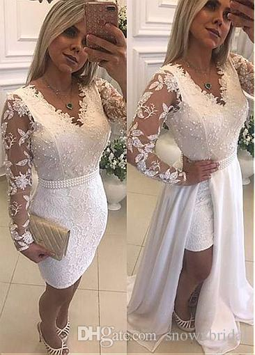 Fashion Lace & Chiffon 2 In 1 Prom Dresses With Detachable Skirt V-neck Long Sleeves Pearls Lace Appliques Teens High Low Prom Gowns White