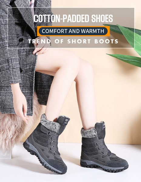 2019 новых женщин сапоги кожи высокого качества замши Сапоги зимние Женщины Keep Warm Шнуровка водонепроницаемый снега сапоги Botas Mujer