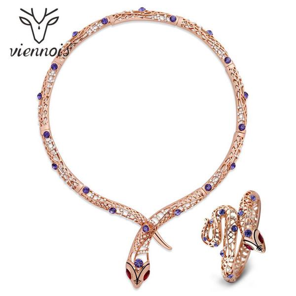Viennois Schlange-Halskette Set für Frauen Rose Gold Farbe Halskette Strass Kristallarmband Hochzeit Schmuck 2019