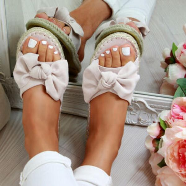 PUIMENTIUA 2019 Verano Nuevo Estilo Moda Arco Sandalias de la personalidad Pisos femeninos Woven Casual Zapato Boca de pescado Leopardo Zapatillas