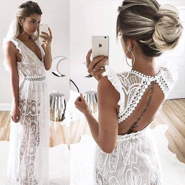 a53c2d4ed439 Sexy Hollow Out White Lace Dress Women Spring High Waist Sleeveless  Backless Dress Elegant Christmas Maxi