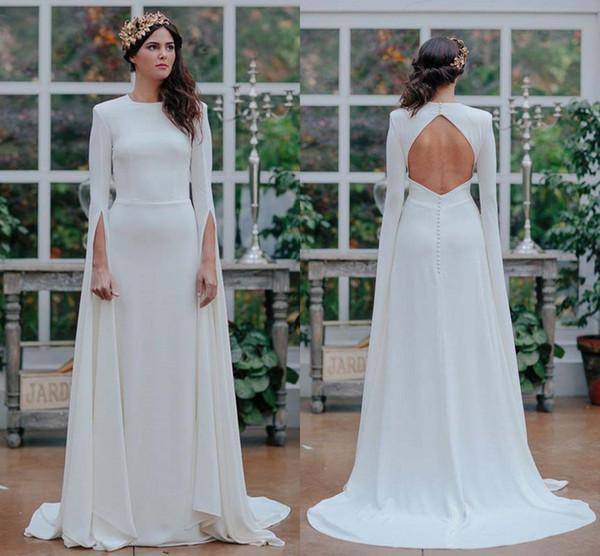 Long Sleeve Satin Wedding Dresses Scoop full length greek goddess Open Back A Line Outdoor Garden Wedding Bridal Gowns