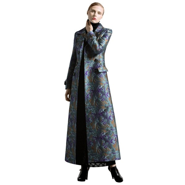 S-XXXL Осень Зима жаккарда Long Coat Florals Плюс Размер Luxury Trench Женщины Двойной Брестед Муслим Стиль Outwear