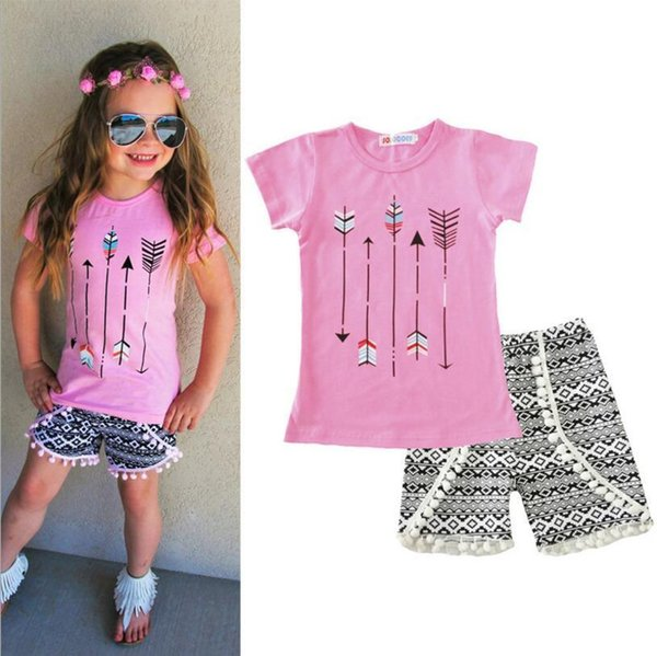 2019 Summer design baby girls arrow print season style boutique ruffles geometric cotton shorts outfit clothes