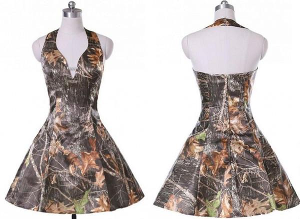 Vestido corto de dama de honor de camuflaje corto Vestidos de fiesta Espalda abierta Una línea personalizada al por mayor Boda Invitado Vestido de fiesta formal Precio al por mayor