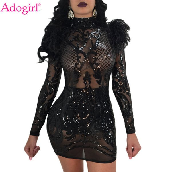 Adogirl New Feather Shoulder Sequins Club Sheer Turtleneck Long Sleeve Bodycon Party Dress High Stretch Vestidos Q190509