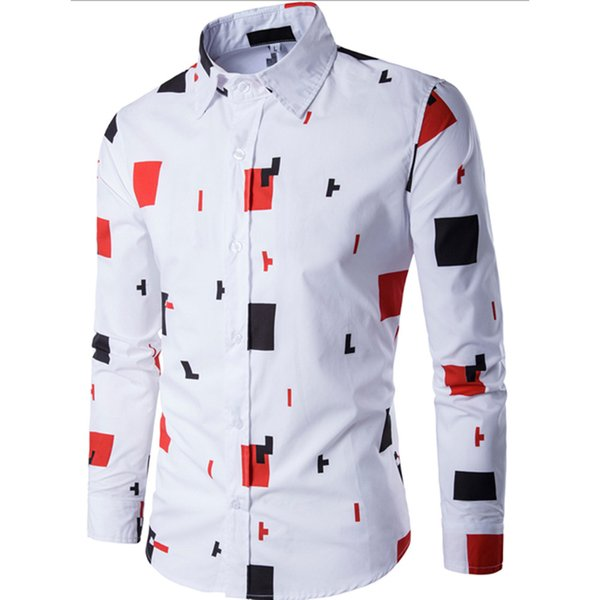 2019 New Arrival Man Shirt Color Block Pattern Design Long Sleeve Casual Slim Fit Man Shirt Fashion White Dress Shirts Camisa 20