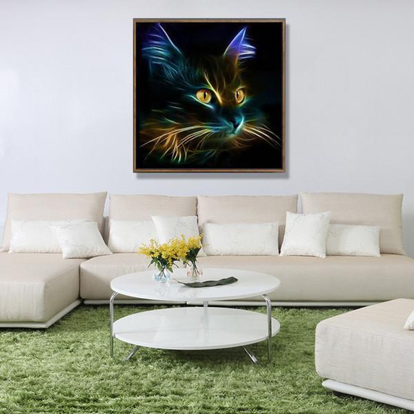 Persönlichkeit Dark Night Cat 5D Diamant Malerei DIY Diamanten Kreuz-Stich-Gemälde Dekorative Kunst-Abbildung für Hauptdekoration 8 5yb E1