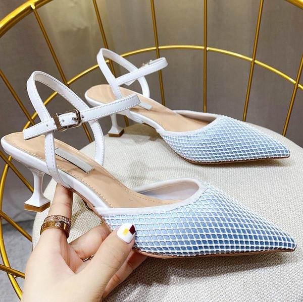 2019top qualité design grande taille fashion fond bas baotou demi pantoufles nouvelle polyvalent pointu talons hauts sandales femmes avec qp d'origine