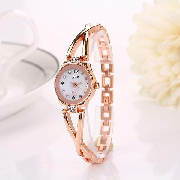 Zegarki Damskie Moda Casual Mujer Relojes Reloj Pulsera de Cuarzo Señoras Aleación Reloj de Pulsera Gancho Hebilla Cristal Redondo Relojes
