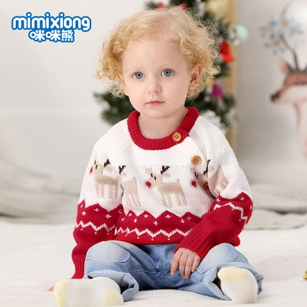 2019 Christmas Knitted Baby Clothes Boys Sweaters Cartoon Elk Kids Cardigan Sweater Baby Boy Pullover Knitted Sweater 822