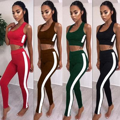 Summer Sexy Women Tracksuits Solid Women Fashion Short Tank Crop With Side Striped Tight Skinny Long Pant 2pc Set
