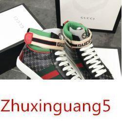 Yeni Erkekler Severler Logo Hi-üst Sneaker Trainer Boot Ayakkabı Siyah Kadın Loafer'lar Balerin Flats Espadrilles Sneakers