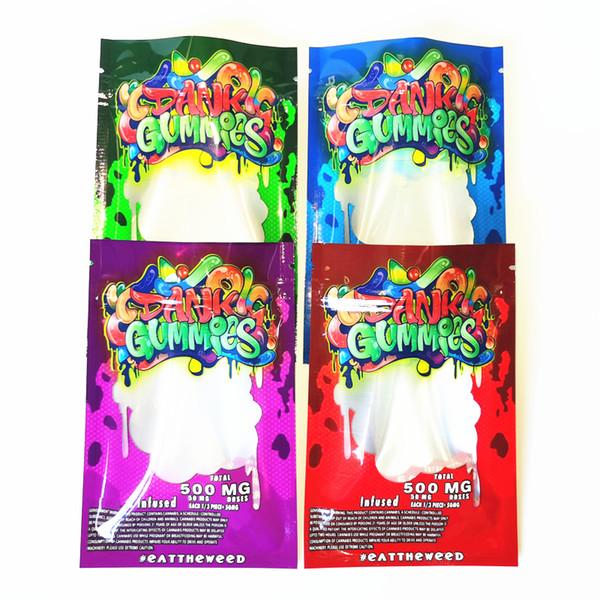 best selling New Dank Gummies Mylar Bag Edibles Retail packaging 4 styles Smell Proof Bags Zipper Mylar Bags
