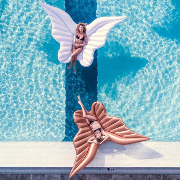 best selling Giant Angel Wings Inflatable Pool Floating Air Mattress Lazy Water Party Toy Riding Butterfly Swimming Ring Piscina 250*180cm