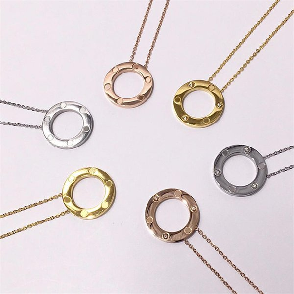 New Luxury Design Necklace Fashion Circle Pendant Necklaces Unisex Golden Silver Rose Chain Necklaces Men Women Fine Jewelry Lover Gifts