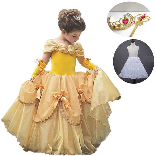 Girls Belle Dress Up Princess Cosplay Costume Birthday Party Clothes Children Halloween Xmas Long Gown Sofia Cinderella Costume MX190724