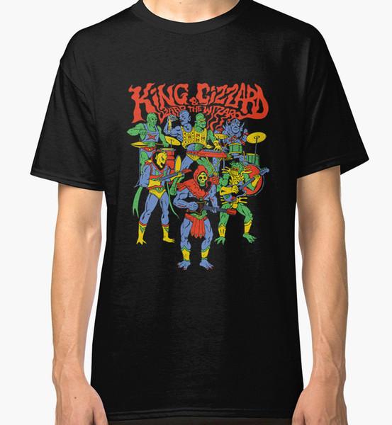 Kral gizem ve kertenkele sihirbazı Yeni T-Shirt erkek Siyah 2018 Yeni Tee Baskı Erkek T-Shirt Tops Hip Hop Kısa T Gömlek