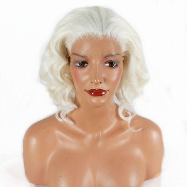 Kostenloser Versand 14 zoll Weiß Blonde Kurze Wellenförmige Synthetische Spitzefrontseitenperücke Hochwertige Reine Farbe Haar Hitzebeständige Faserperücken für Weiße Frauen