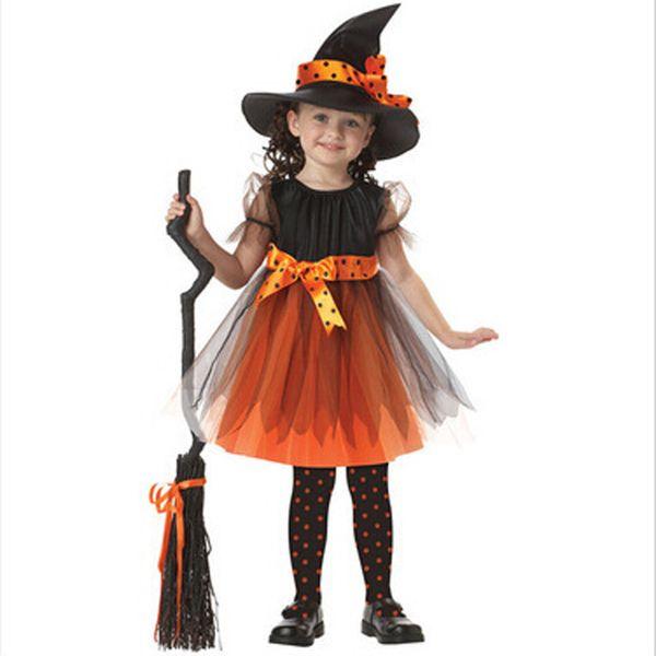 Compre 2019 Nueva Llegada Fiesta De Halloween Niños Niños Cosplay Traje De Bruja Para Niñas Fiesta De Disfraces De Halloween Vestido De Bruja Con