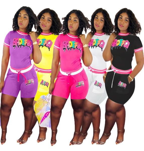 Women BADEFGI Letters Patchwork Tracksuit 2019 Paillette Romper Two Pieces Set Summer Short T-shirt+shorts Sportswear Clothing Set C5801