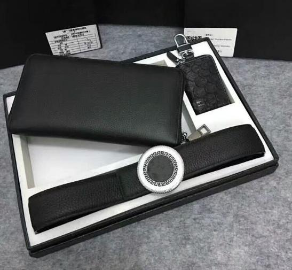 2009 Medusa 2-piece combination leather wallet men's fashion belt, gift car key bag 1-5