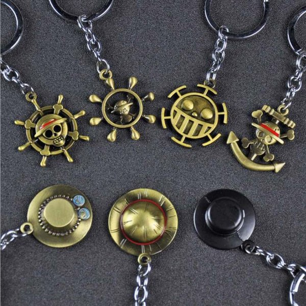 10pcs/lot Fashion Jewelry Keychain One Piece Monkey D. Luffy Straw Hat Rudder Skull Pendant Key Chains For Fans Party Gift