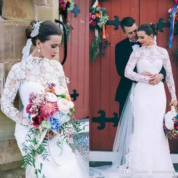 Белые скромные свадебные платья с длинными рукавами Русалка 2019 Урожай с высоким вырезом и кружевами Свадебные платья Элегантное свадебное платье осень-зима