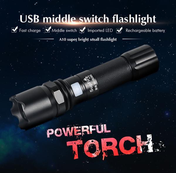 Linterna LED portátil ultra brillante portátil y 5 modos de luz, antorcha resistente al agua al aire libre, flash táctico alimentado A10