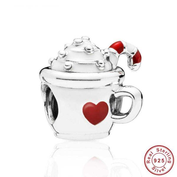 Новый горячий стерлингового серебра 925 строка красное сердце Кубок Шарм, WarmFun мороженое fit Pandora браслет бусины ювелирные изделия
