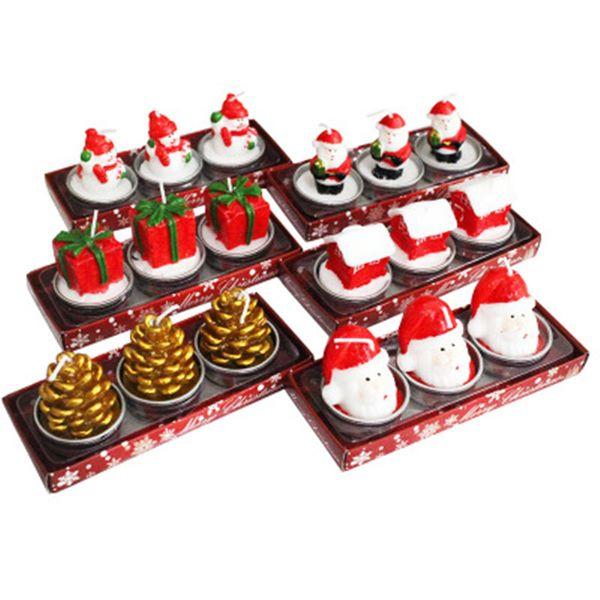 Thé de noël lumière Santa bougies noël belle artisanat cadeau père noël bonhomme de neige cône de pin accueil intérieur bougies parti ornement fournitures
