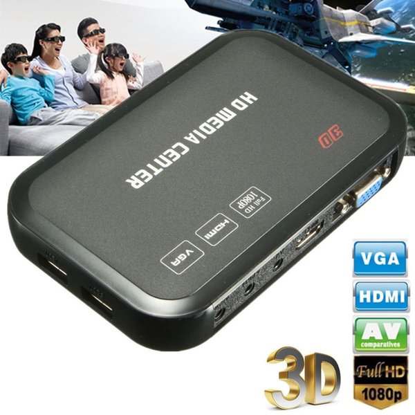 VGA 1080p Full HD HDMI Media Player Wireless Romote Control HDD MKV SD USB TV AVI RM Entertain Digital Videos Images