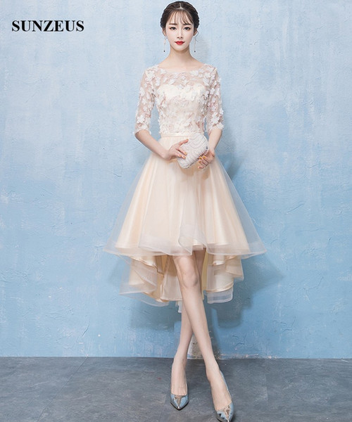 Short Prom Gowns 2019 High Low Design Scoop Half Sleeves Prom Gowns Champagne Flowers Formal Dress Lace Tulle Robe Cheap Mermaid Prom Dresses Chiffon