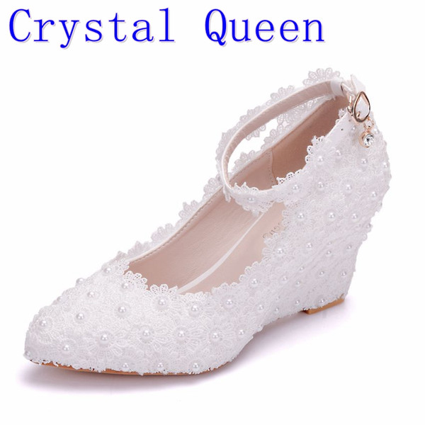Crystal Queen White Flower Wedding Shoes Lace Pearl High Heels Sweet Bride Dress Shoes Beading Wedges Shoes 8cm Women Pumps
