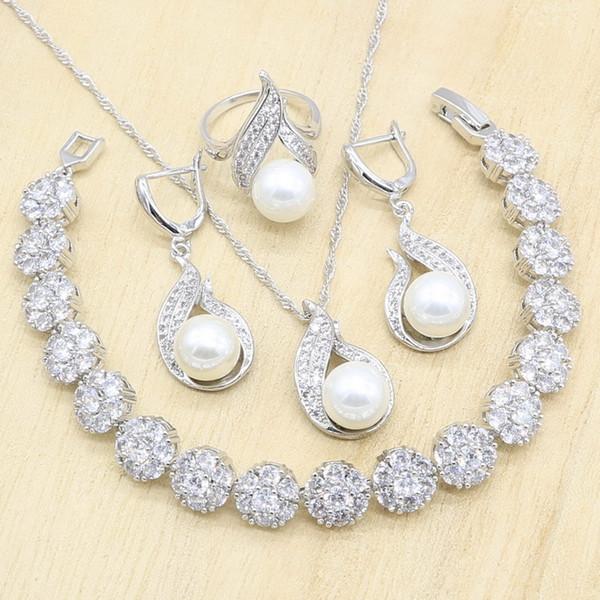 Parure di gioielli in argento sterling 925 con zirconi bianchi per donna