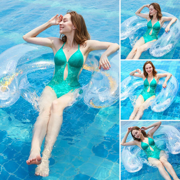best selling New Backrest Floating Recliner Water Inflatable Bed Swimming Floating Row Seated Clear Handrail Backrest for Outdoor Pool Lake Beach