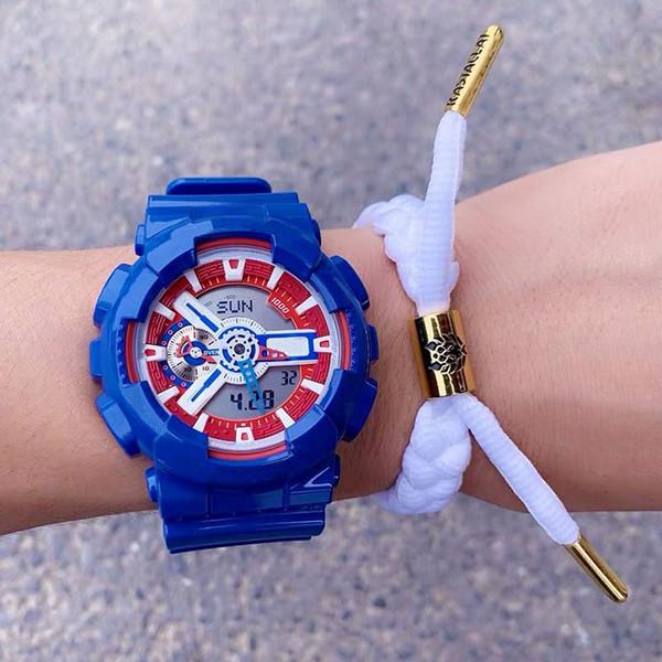 Été 2019-GA110 hommes rouges bleu marine MARVEL chronographe sport étanche montre étanche, montre entièrement automatique, toutes les fonctions sont efficaces