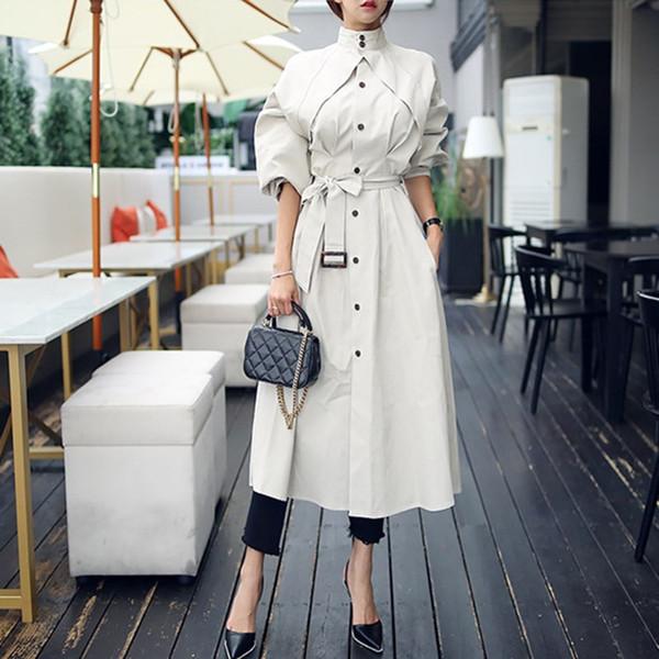 Frauen Herbst Winter Langen Graben Korean Fashion Elegant Mantel Stehkragen Hohe Taille Lace Up Frauen Lose Windjacken