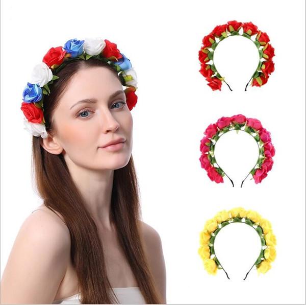Headband Rose Flowers Hair Sticks Bohemian Bridesmaid Headdress Beach Princess Headwear Wedding Christmas Hair Clip Hair Accessories B5661