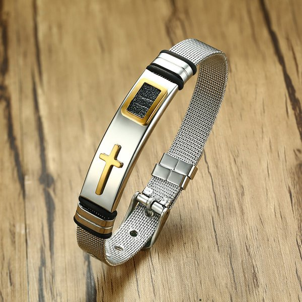 Adjustable Length Bracelet for Women Men Bangle Watch Band Design Stainless Steel Net Band Christ Cross Prayer Male Jewelry