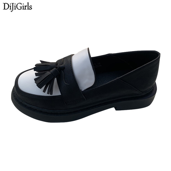 Chaussures Automne Classique Oxford Chaussures Femmes Tassel Creepers Plateforme Casual Vintage Mocassins Femme Printemps Oxfords Appartements
