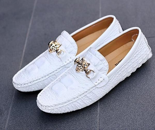 El grano de cocodrilo Zapatos casuales de alta calidad y zapatos casuales de microfibra de cuero transpirables, zapatos de cocodrilo con diseño de doug G5.56