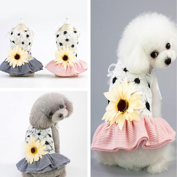 Compre 2 Unids Ropa Para Mascotas Ropa Para Mascotas Ropa Para Perros Vestidos Para Mascotas Rayas Flor De Sol Honda Faldas Ropa Para Perros Primavera
