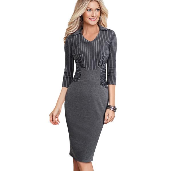 Otoño Invierno Strip Casual Business Workwear Lápiz Vestido Clásico Ajustado Delgado Mujeres Vestido de Oficina de Negocios EB479 T5190614